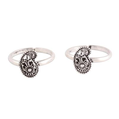 Sterling silver toe rings, 'Paisley Royalty' - Sterling Silver Paisley Toe Rings from India
