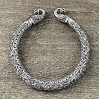 Sterling silver cuff bracelet, 'Avian Royalty'