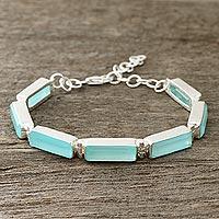 Chalcedony link bracelet, 'Fascinating Blue' - 14-Carat Blue Chalcedony Link Bracelet from India