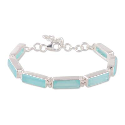 Chalcedony link bracelet, 'Fascinating Blue' - 14-Carat Blue Chalcedony Link Bracelet from India