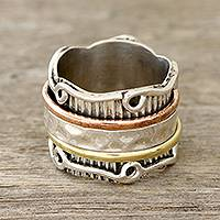 Sterling silver spinner ring, 'Creative Flair'