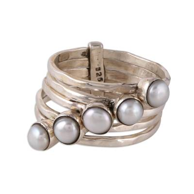 Cultured pearl cocktail ring, 'White Glow' - Cultured Pearl Cocktail Ring Crafted in India