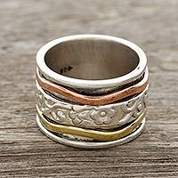 Sterling silver spinner ring, 'Blossom Delight'