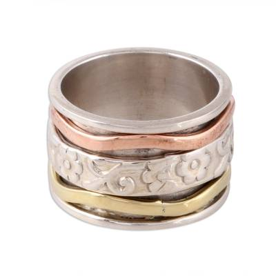 Sterling silver spinner ring, 'Blossom Delight' - Floral Sterling Silver Spinner Ring with Brass and Copper