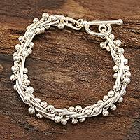 Sterling silver link bracelet, 'Shiny Berries' - Bauble Pattern Sterling Silver Link Bracelet from India