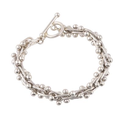 Sterling silver link bracelet, 'Shiny Berries' - Bauble Pattern Sterling Silver Link Bracelet from India