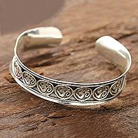 Sterling silver cuff bracelet, 'Om Parade' - Sterling Silver Om Cuff Bracelet from India