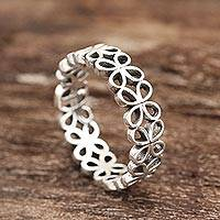 Sterling silver band ring, 'Happy Petals' - Petal Pattern Sterling Silver Band Ring from India