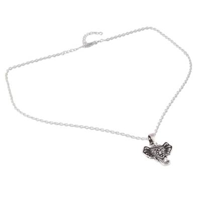 Sterling Silver Ganesha Pendant Necklace from India