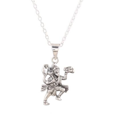 Sterling silver pendant necklace, 'Compassionate Hanuman' - Sterling Silver Hanuman Pendant Necklace from India