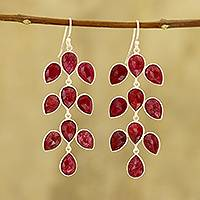 Ruby dangle earrings, 'Leaf Cascade'