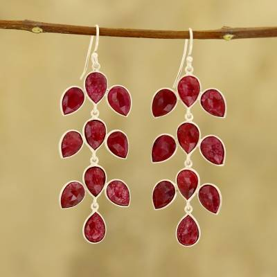 Ruby dangle earrings, 'Leaf Cascade' - 40-Carat Ruby Dangle Earrings from India