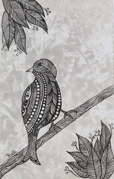 'Searching' - Signed Black and White Folk Art Painting of a Bird