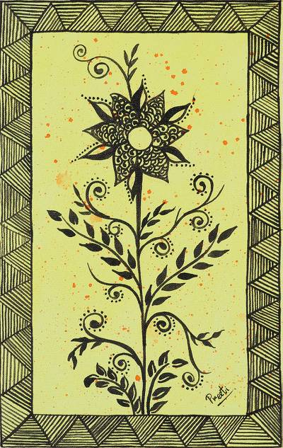 'Majestic Sunflower' - Signed Yellow Folk Art Painting of a Flower from India