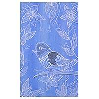 'Spring Delight' - Signed Blue Folk Art Painting of a Bird from India