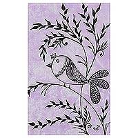 'Morning Song' - Signed Folk Art Bird Painting in Purple from India