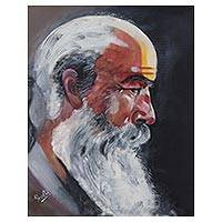 'Sadhu I' - Signed Realist Painting of a Sadhu in Profile from India