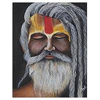 'Sadhu II' - Signed Realist Painting of a Bearded Sadhu from India
