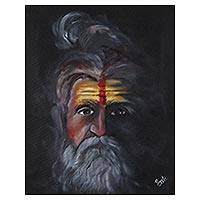 'Sadhu III' - Signed Realist Painting of a Hindu Sadhu from India