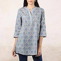 Cotton tunic, 'Royal Ash Grey' - Printed Cotton Tunic in Ash from India