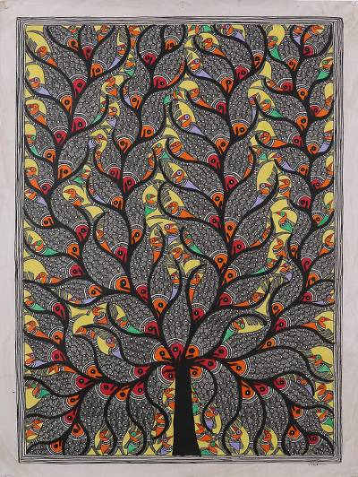 Madhubani painting, 'Fish & Bird Harmony' - Madhubani Painting of Fish and Birds in a Tree from India
