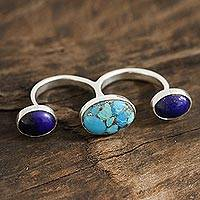 Lapis lazuli double-finger ring, 'Dramatic Skies' - Lapis Lazuli and Sterling Silver Double Finger Ring