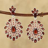 Garnet dangle earrings, 'Fiery Fanfare' - Faceted Garnet Gemstone and Sterling Silver Dangle Earrings