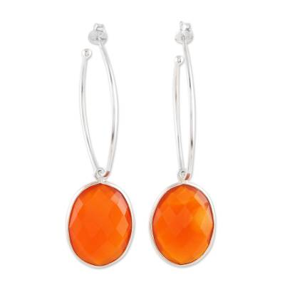 Faceted Oval Carnelian and Sterling Silver Dangle Earrings