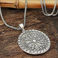 Men's sterling silver pendant necklace, 'Shiva's Helm of Awe' - Men's Sterling Silver Helm of Awe Necklace from India