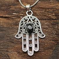 Onyx pendant necklace, 'Hamsa Oval' - Oval Onyx Hamsa Pendant Necklace from India