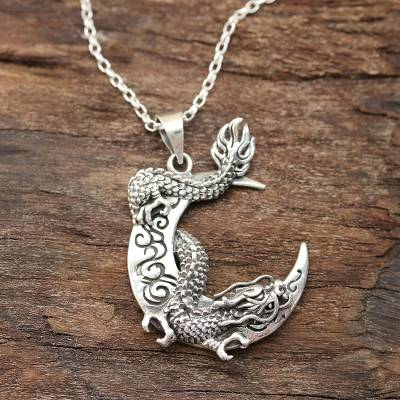 Sterling silver pendant necklace, 'Dragon Crescent' - Dragon Crescent Sterling Silver Pendant Necklace from India