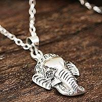 Sterling silver pendant necklace, 'Charm of the Elephant' - Sterling Silver Elephant Pendant Necklace Crafted in India
