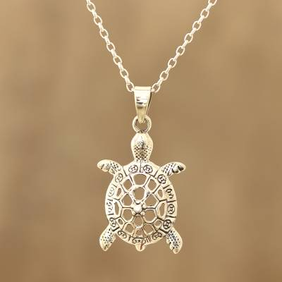 Sterling silver pendant necklace, 'Harmonious Turtle' - Sterling Silver Turtle Pendant Necklace from India