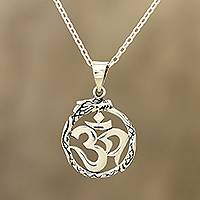Sterling silver pendant necklace, 'Dragon Om' - Sterling Silver Dragon Om Pendant Necklace from India