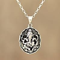 Sterling silver pendant necklace, 'Ganesha Frame' - Sterling Silver Ganesha Pendant Necklace from India