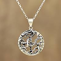 Sterling silver pendant necklace, 'Dragon Mystic' - Circular Sterling Silver Dragon Pendant Necklace from India