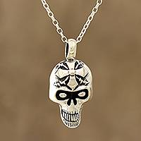 Sterling silver pendant necklace, 'Grinning Cross' - Sterling Silver Skull Cross Pendant Necklace from India