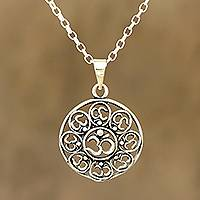 Sterling silver pendant necklace, 'Eternal Peace' - Om Motif Sterling Silver Pendant Necklace from India