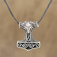 Sterling silver pendant necklace, 'Thor Bull' - Bull-Themed Sterling Silver Thor's Hammer Necklace