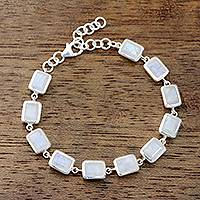Rainbow moonstone link bracelet, 'Fascinating Rectangles' - Rectangular Rainbow Moonstone Link Bracelet from India