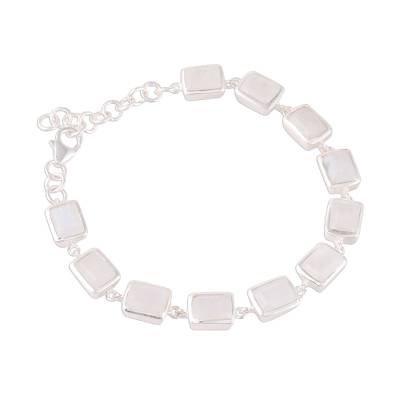 Rectangular Rainbow Moonstone Link Bracelet from India
