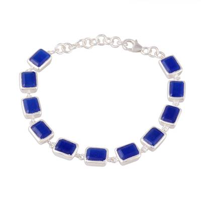 Blue Onyx Rectangular Link Bracelet from India