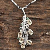Rhodium plated citrine and emerald pendant necklace, 'Sunshine Alliance'