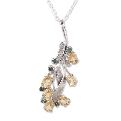 Rhodium plated citrine and emerald pendant necklace, 'Sunshine Alliance' - Rhodium Plated Citrine and Emerald Pendant Necklace