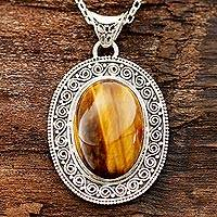 Tiger's eye pendant necklace, 'Dancing Earth'