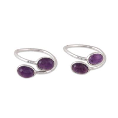 Oval Amethyst Toe Rings from India (Pair)