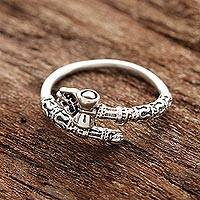 Sterling silver wrap ring, 'Powerful Shiva' - Shiva-Themed Sterling Silver Wrap Ring from India