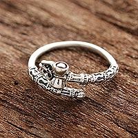 Sterling silver wrap ring, 'Powerful Shiva' - Shiva-Themed Sterling Silver Wrap Ring from India
