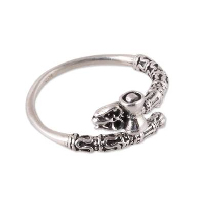 Shiva-Themed Sterling Silver Wrap Ring from India