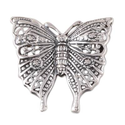 Sterling Silver Butterfly Brooch Crafted in India